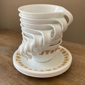Corelle | Butterfly Gold Hook Handle Cups & Saucer